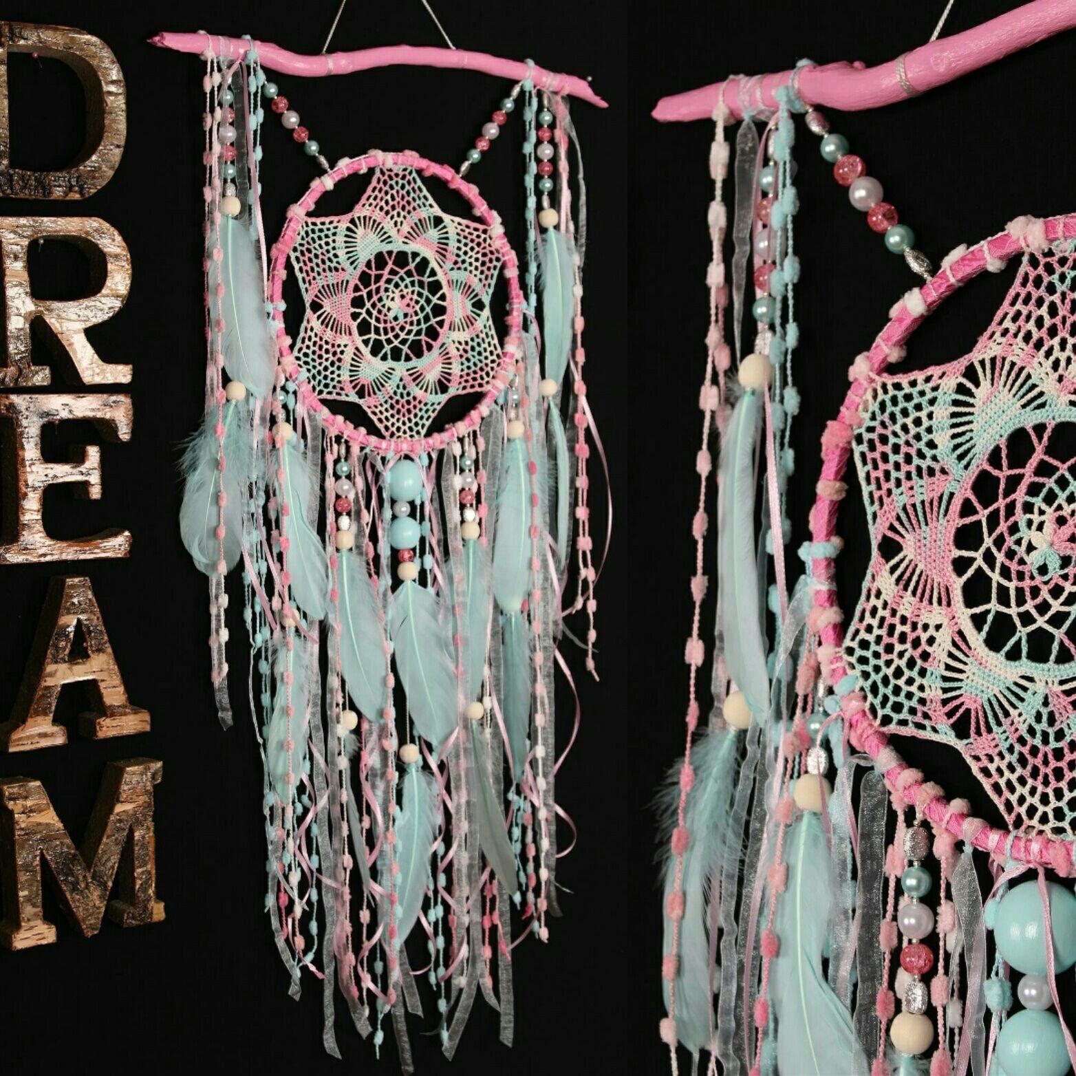 Mint Dreamcatcher Boho Pink Dream Catcher Pink Crochet Dreamcatcher Gift