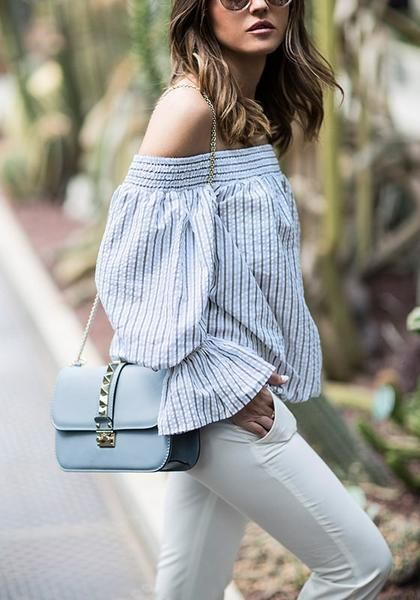 c462a90ac383 Dare to go cold shoulders with this blue striped bow-back off-shoulder top!