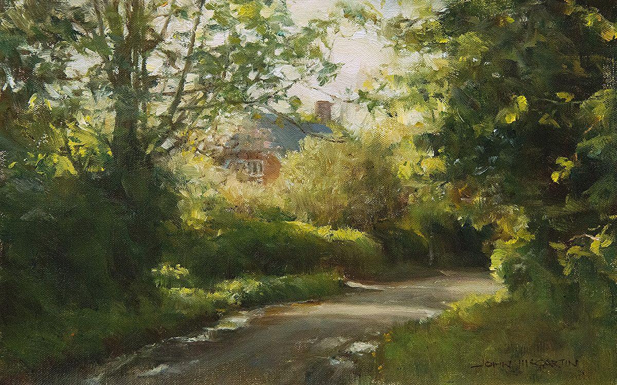 An English Country Lane by John McCartin Oil 24cm x 36cm