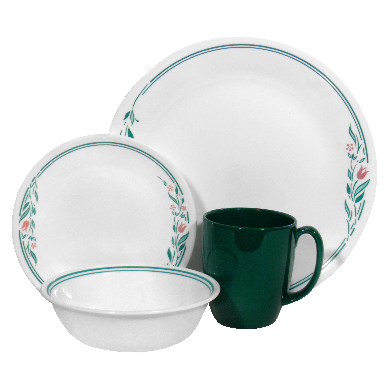 Corelle livingware 16 piece dinnerware set ros for Kitchen dish sets