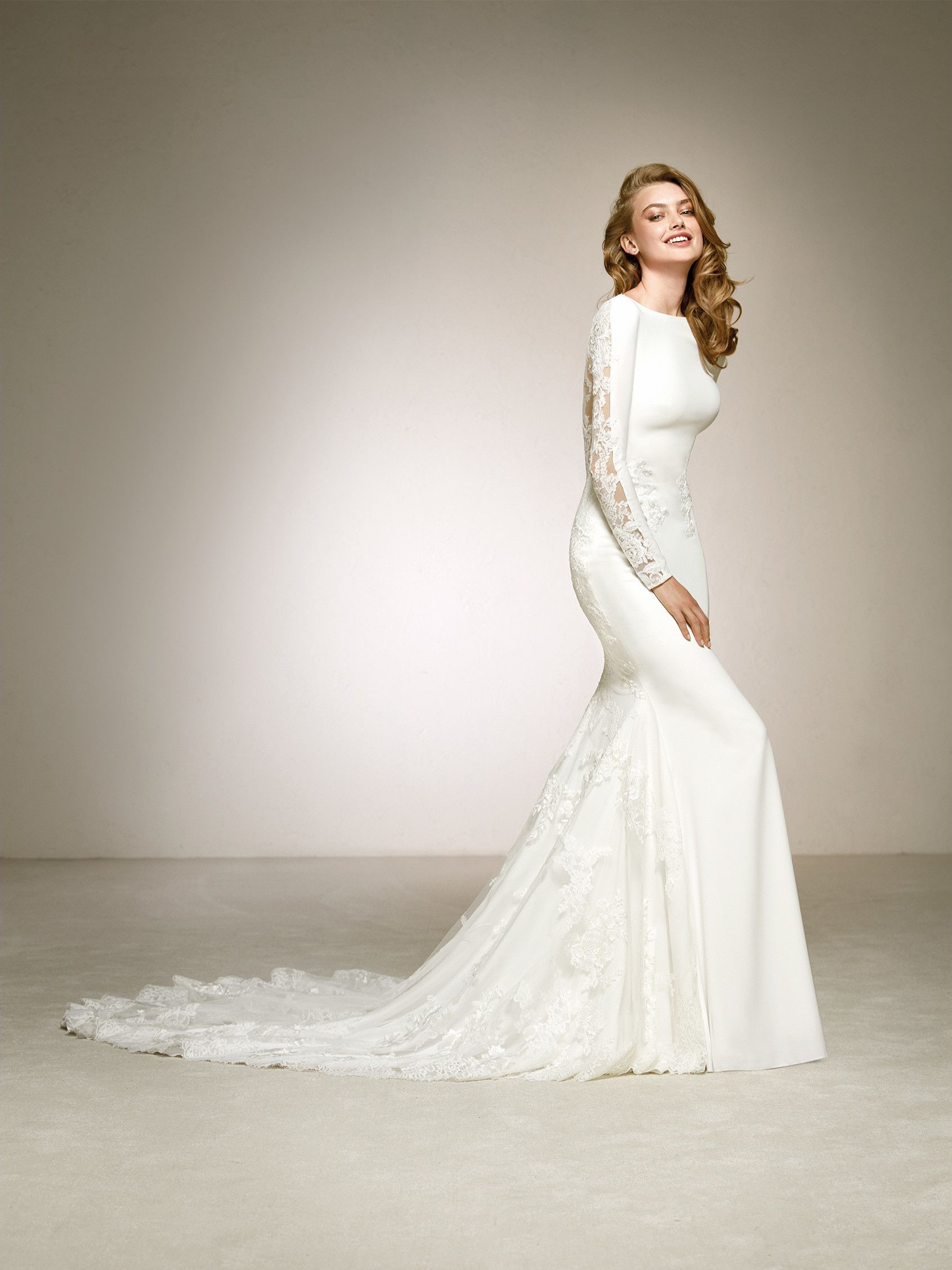 0f3f7bd7acf Crepe wedding dress with lace back. DAKOTA