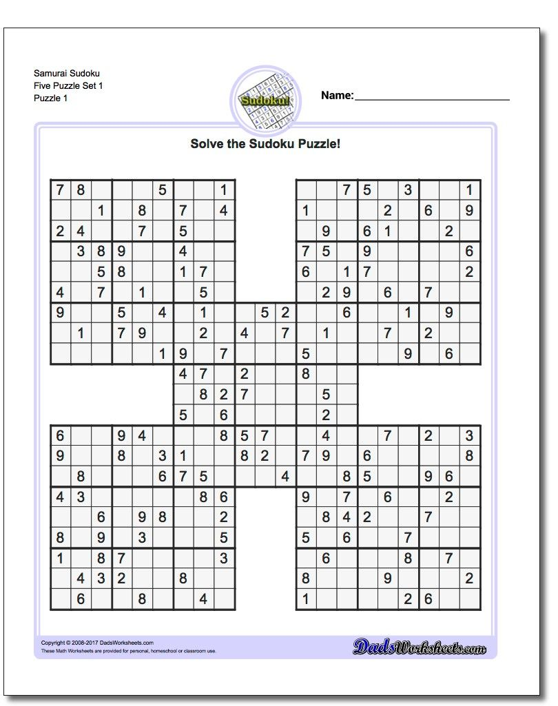 printable sudoku samurai give these puzzles a try and you ll be busy longer than you expect answers included printable samurai sudoku puzzles [ 810 x 1025 Pixel ]