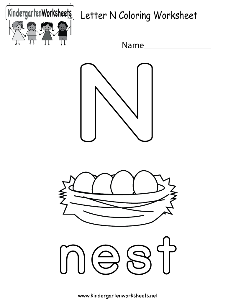 Letter N Coloring Worksheet For Preschoolers Or