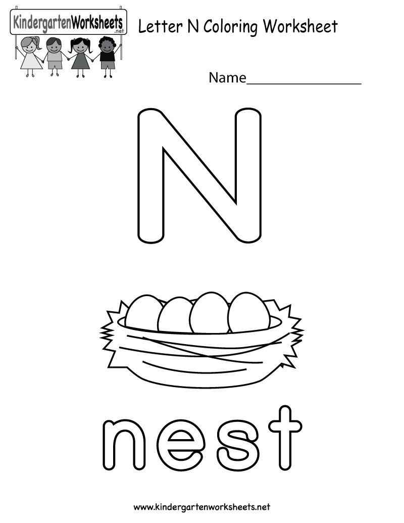 Letter N Coloring Worksheet For Preschoolers Or Kindergarteners You Can Download Print Letter N Worksheet Preschool Letters Alphabet Worksheets Kindergarten