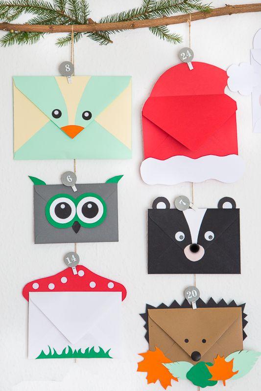 Tierischer Adventskalender aus Briefumschlägen #adventkalenderbasteln