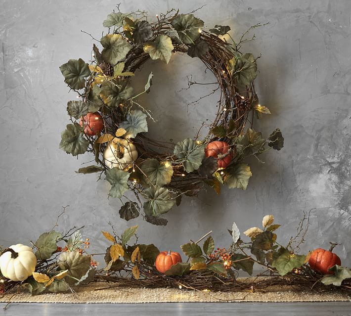 The Best Fall Decor From Pottery Barn On Sale Pumpkin Wreath Wreaths And Garlands Fall Wreaths