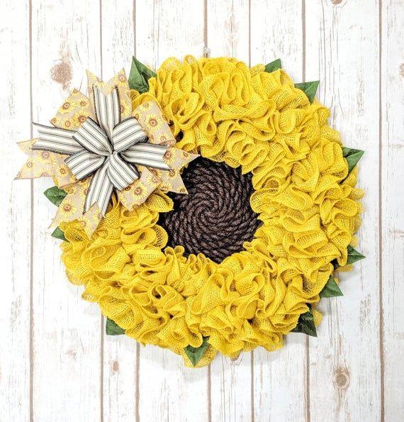 Photo of Burlap Sunflower Wreath | Summer Wreath | Fall Wreath | Sunflower Wreath | Burlap Flower Wreath |  Spring Wreath | Wreath For Front Door