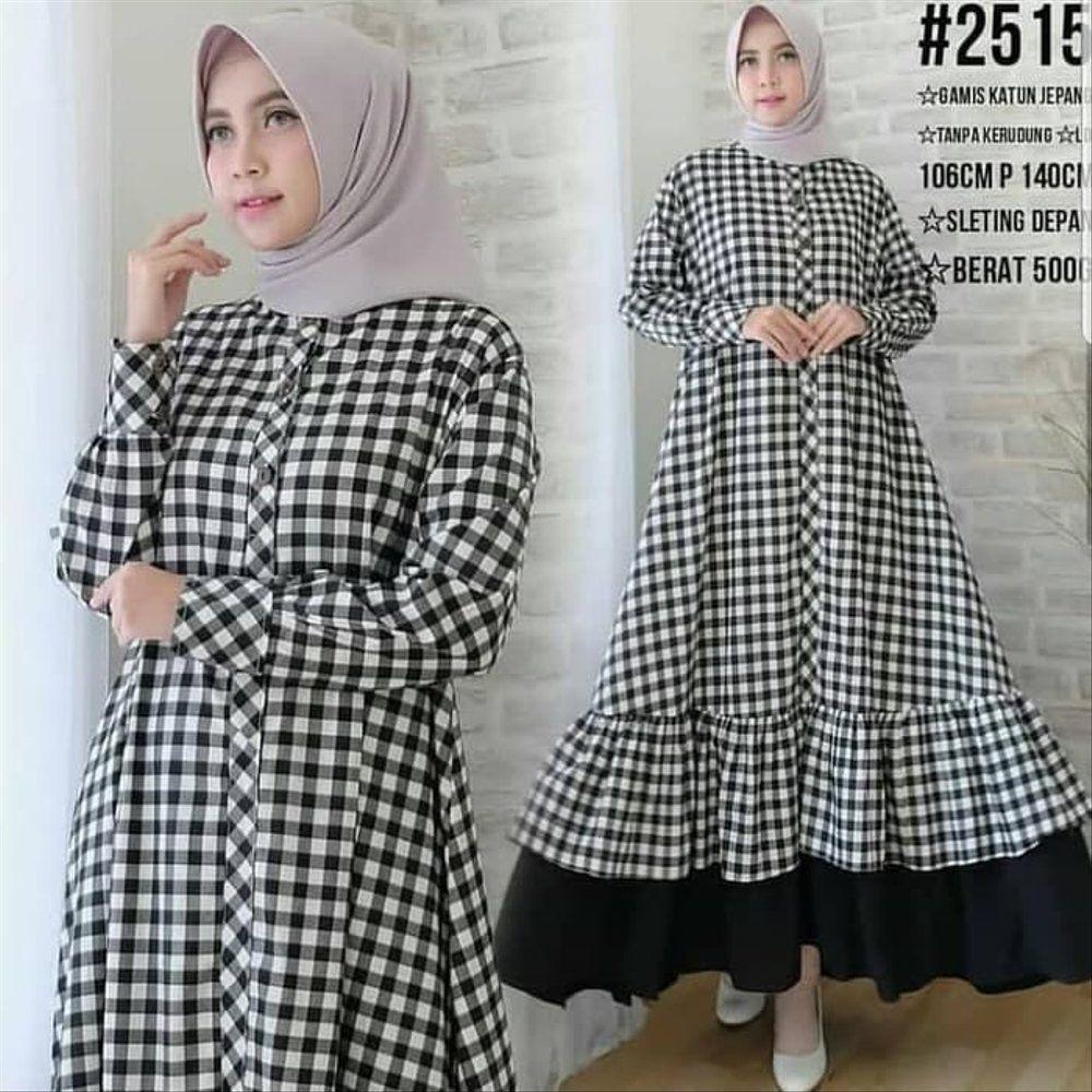 Model Baju Gamis Kotak Kotak  Ragam Muslim  Pakaian wanita