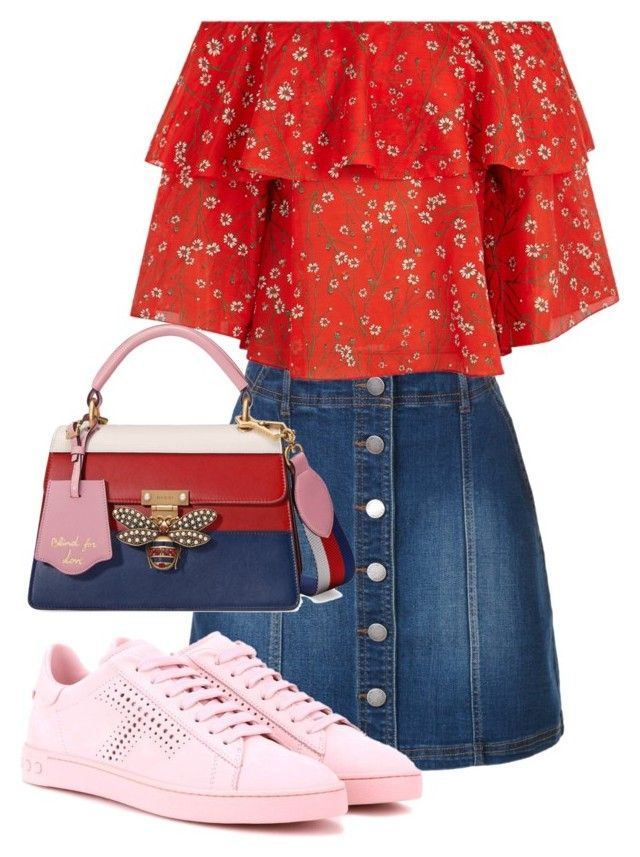 """""""Red blu pink"""" by iamgl2002 ❤ liked on Polyvore featuring LE3NO, Alice + Olivia, Tod's and Gucci"""