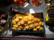 Very Hungry Caterpillar party ~ Warm Suns ~ made with Mini Babybel cheddars & canned potato sticks