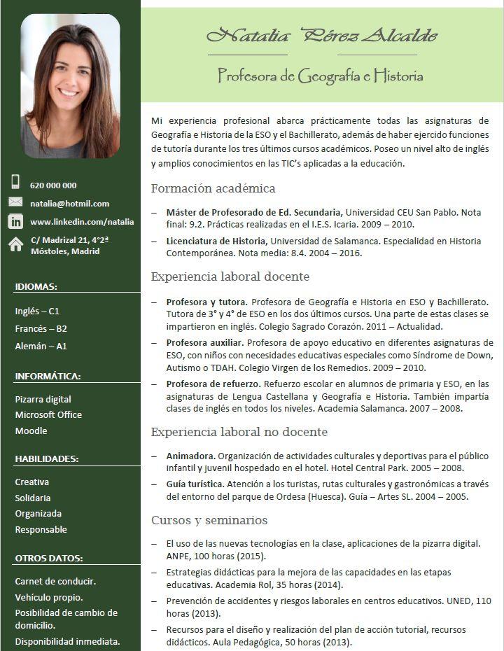 curriculum para profesor  creamos curriculums especiales