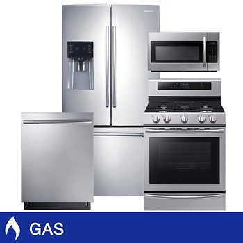 Samsung 4 Piece Gas 25cuft 3 Door French Door Kitchen Package In