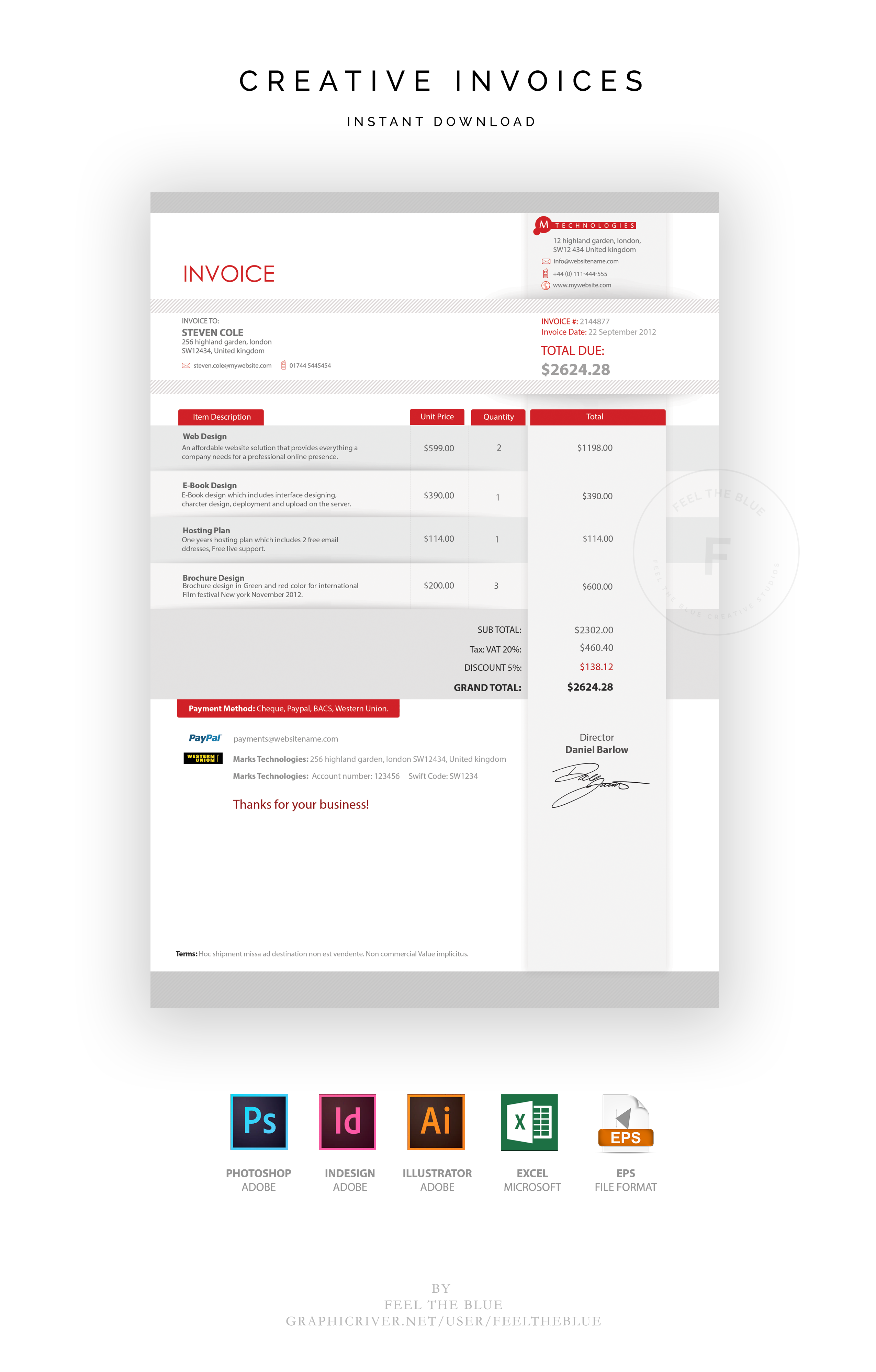 Professional Invoices Invoice Template Invoicing Photoshop