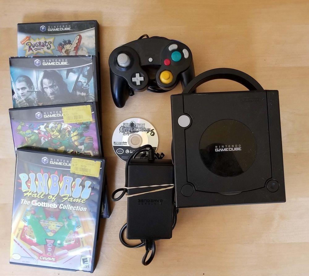 Black Nintendo Gamecube Console W 5 Games 1 Controller Power Tmnt