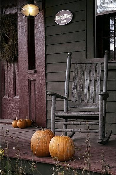 Pumpkins on the porch...love it....