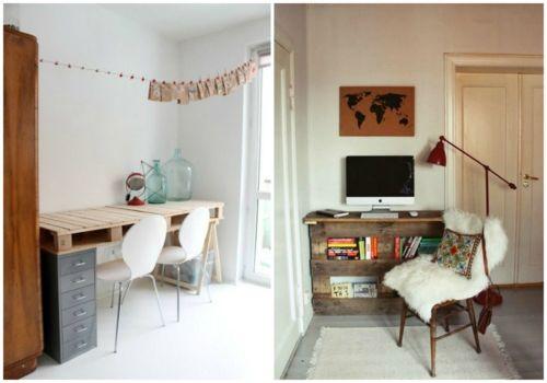 Schreibtisch Selber Bauen Diy Büro Europaletten Ideen Bücherregale Fächer  Stauraum