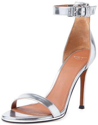 Givenchy Ankle-Wrap Sandal, Silver - $492.00
