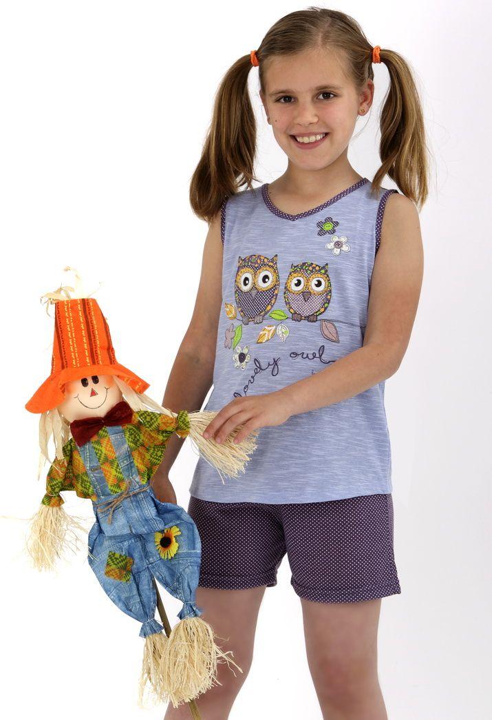 641268515 Pijama dos piezas para niña. Short con topitos y camiseta sin mangas con  dibujo búhos