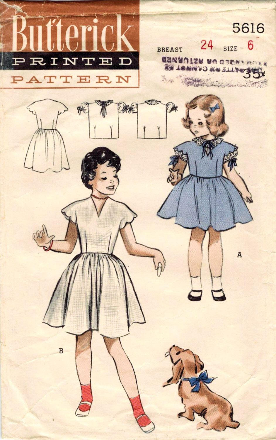 1950s Butterick 5616 Vintage Sewing Pattern Girl\'s Scalloped Sleeved ...