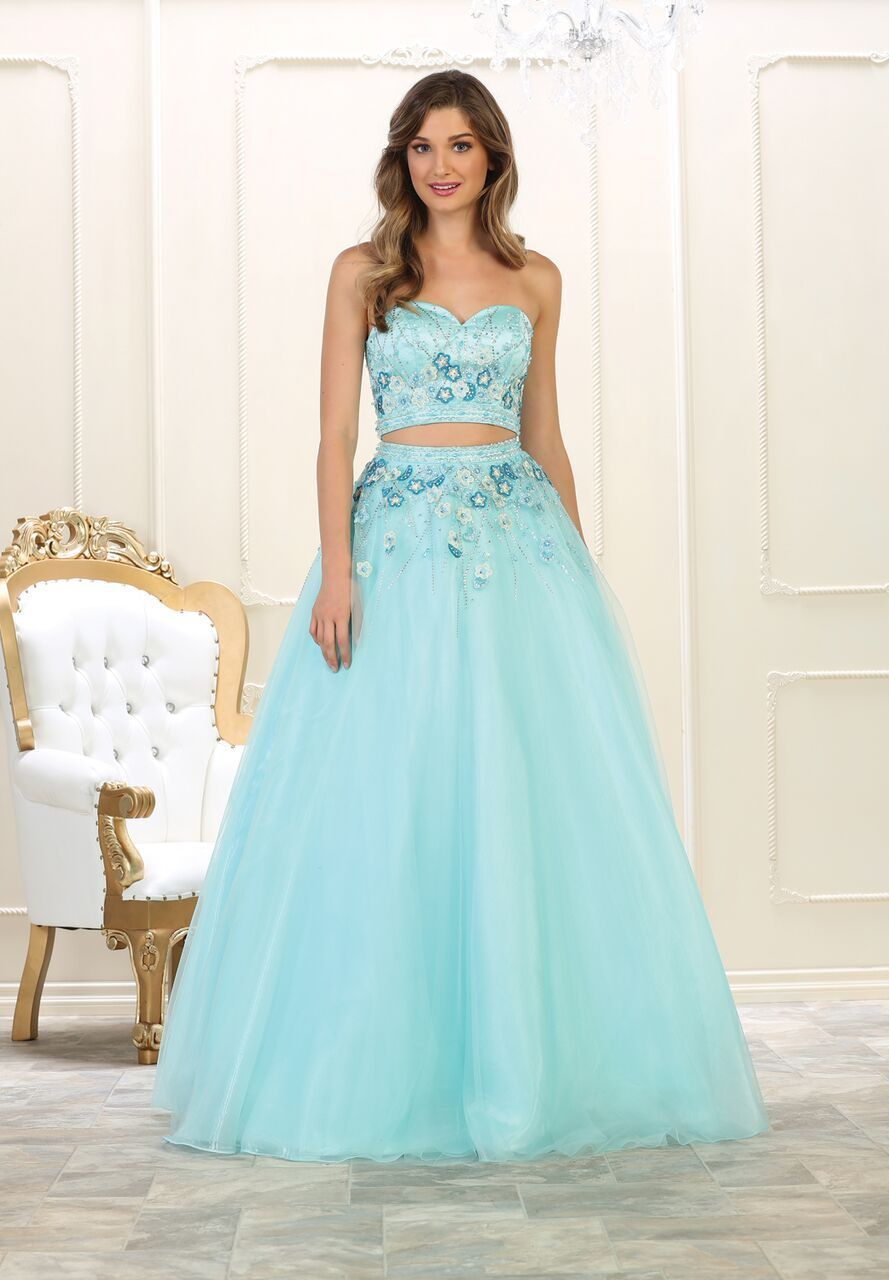 Long prom dress two piece set gown formal products pinterest
