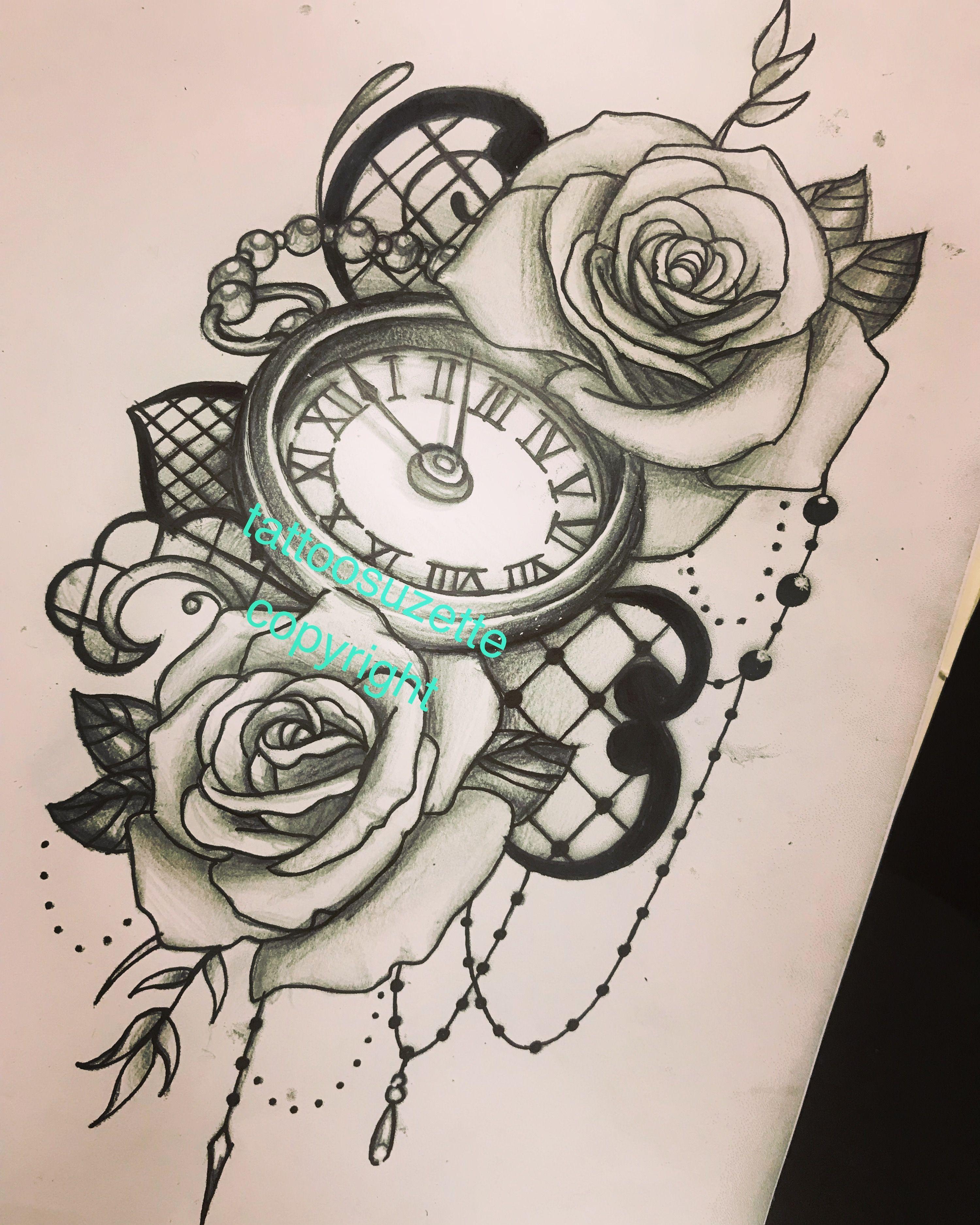 clock roses lace tattoo design tattoo pinterest