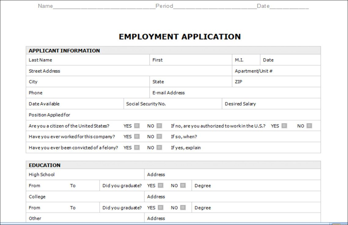 Employment Application Template Microsoft Word With