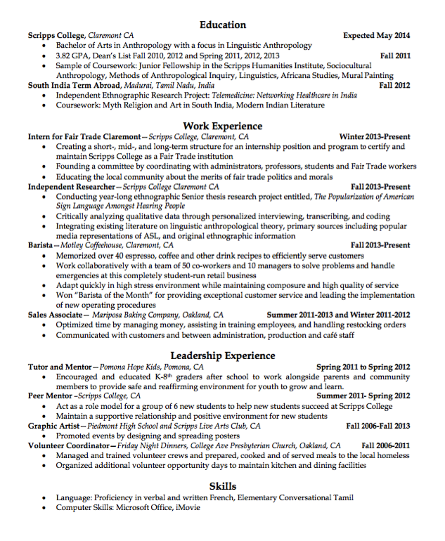 sample barista resume httpexampleresumecvorgsample barista - Barista Resume Sample