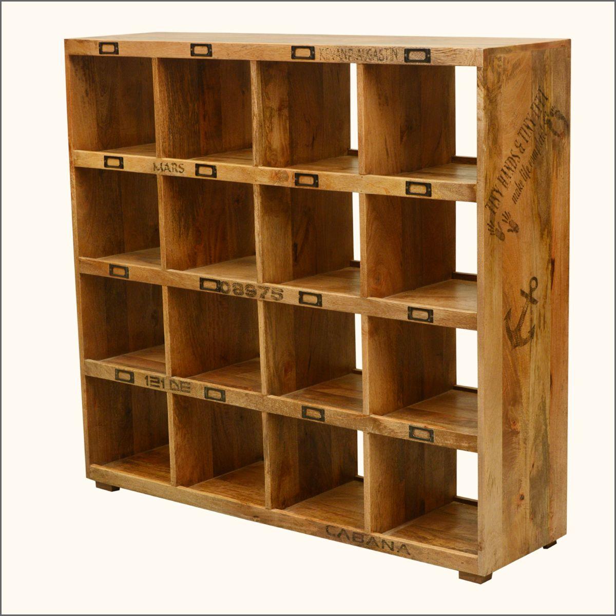 Tiny Hands Mango Wood 16 Section Open Back Storage Wall Unit Cube Bookcase Wood Shelving Units Wall Storage Unit