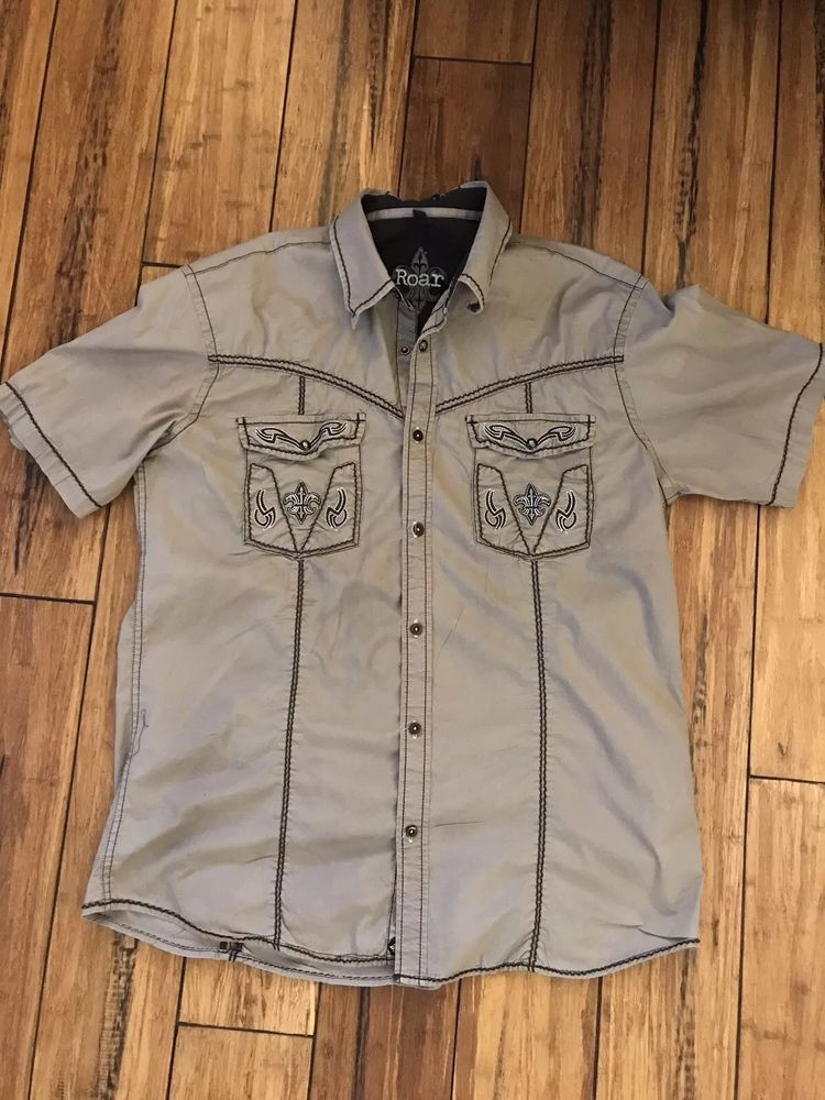 1a1565793 Roar Men s Embroidered Strength Refined Button Front Shirt Size XL  fashion   clothing  shoes  accessories  mensclothing  shirts (ebay link)