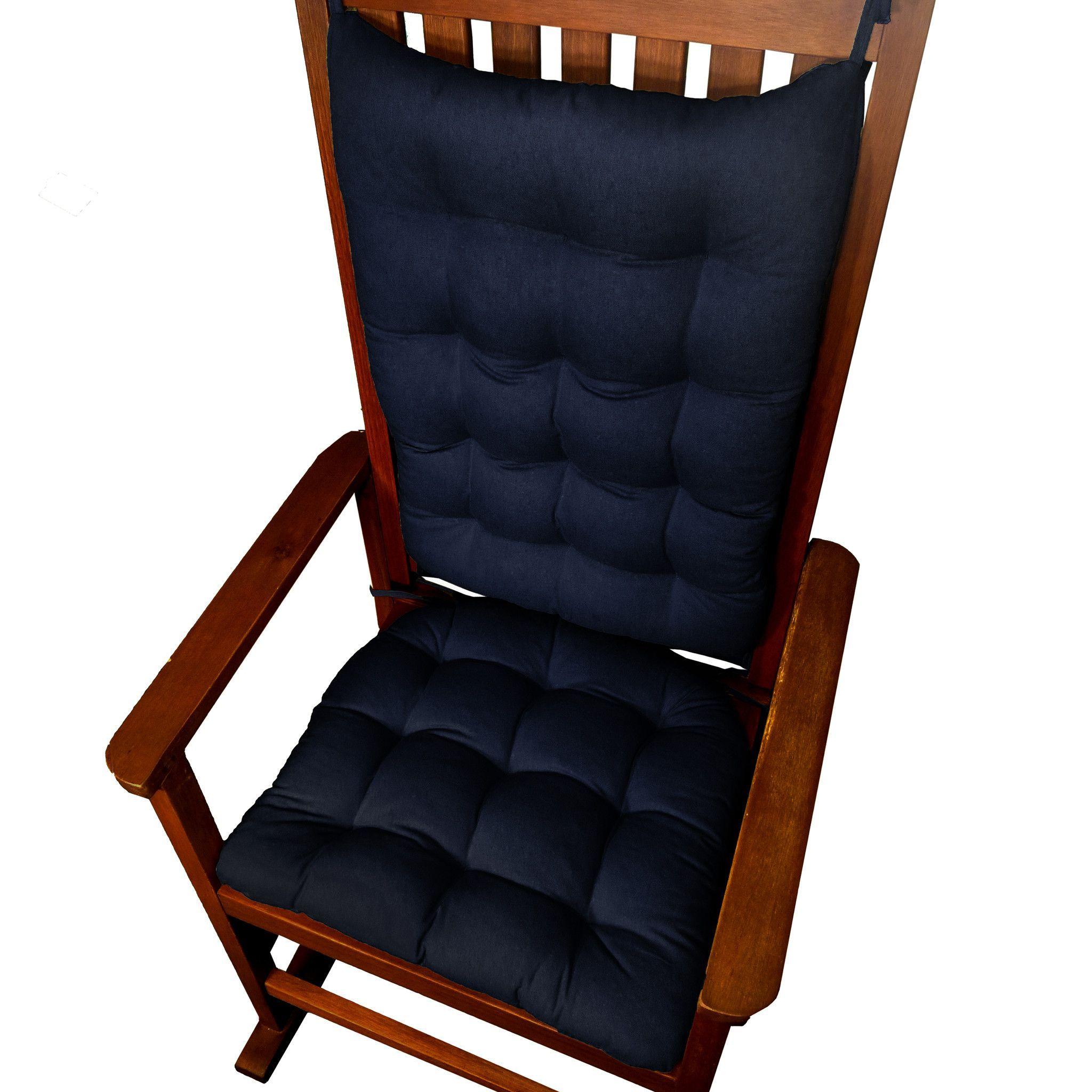 Cotton Duck Navy Blue Rocking Chair Cushions Latex Foam Fill