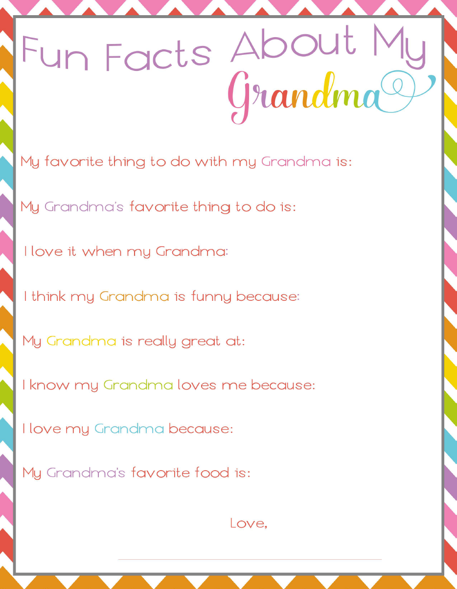 picture about All About My Grandma Printable called Enjoyable Information and facts Pertaining to Grandma Printable for Moms Working day! Not