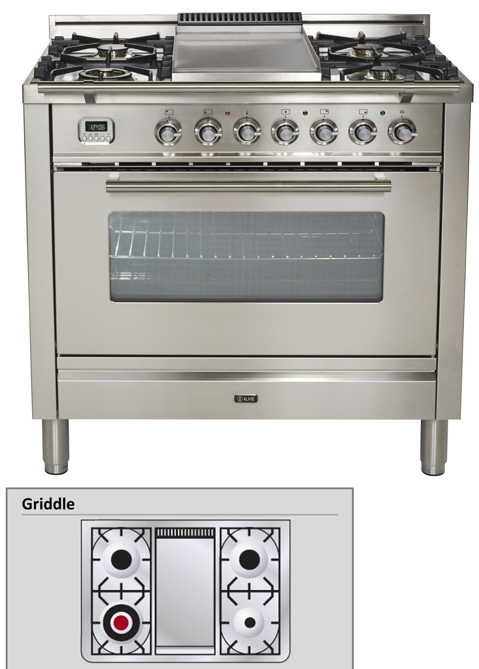 Ranges And Stoves 71250 Ilve Upw90fdmpi Pro Series 36 Dual Fuel Range Oven Griddle Stainless Steel Buy It Now Only 4299 Dual Fuel Ranges Oven Range Ilve