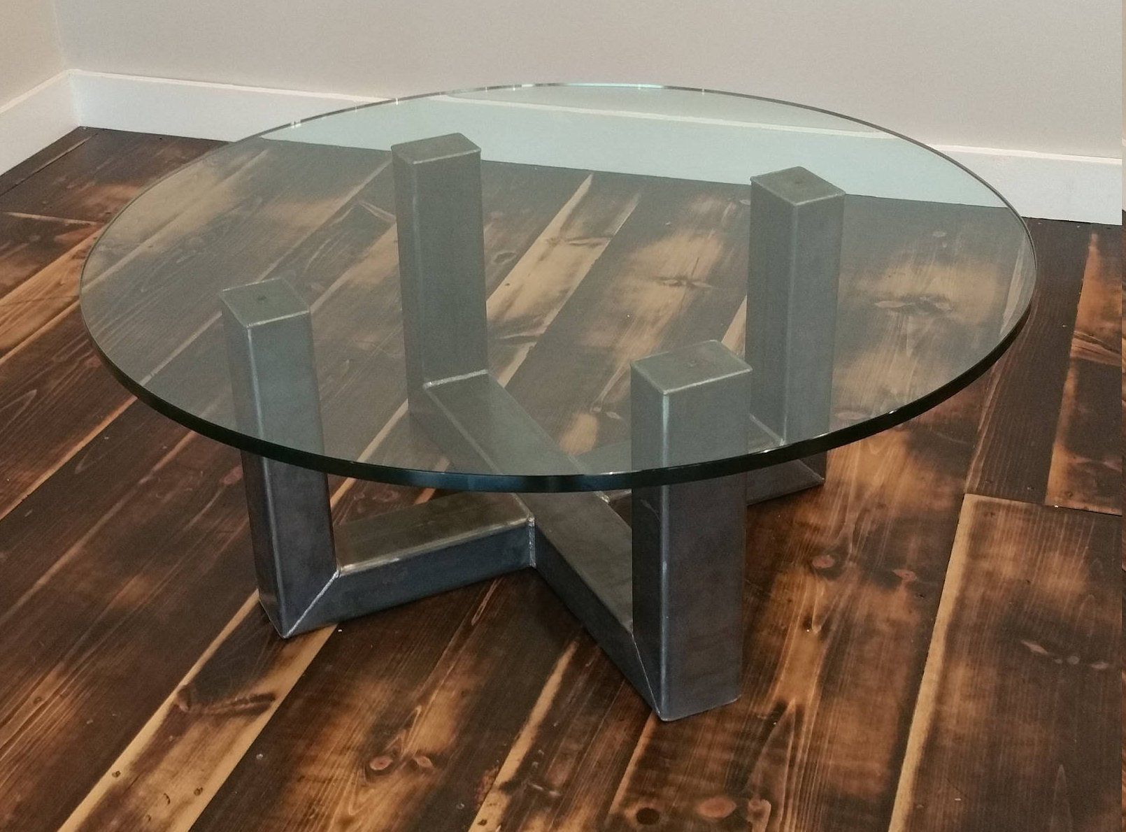 4 Post Industrial Coffee Table Reversible Glass Top Is Also Available In Circle Or Squ Round Glass Coffee Table Industrial Coffee Table Circle Dining Table [ 1190 x 1610 Pixel ]