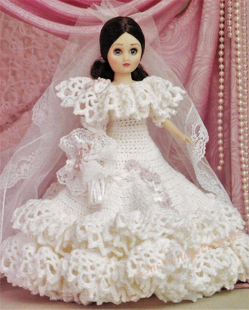Crochet Doll's Wedding Dress Pattern, 15 inch Doll, PDF