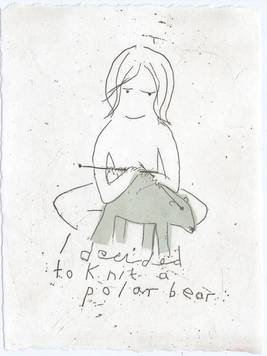 "I decided to knit a polar bear . Etching . Edition of 20 . 6"" x 4"" . Alice Leach"