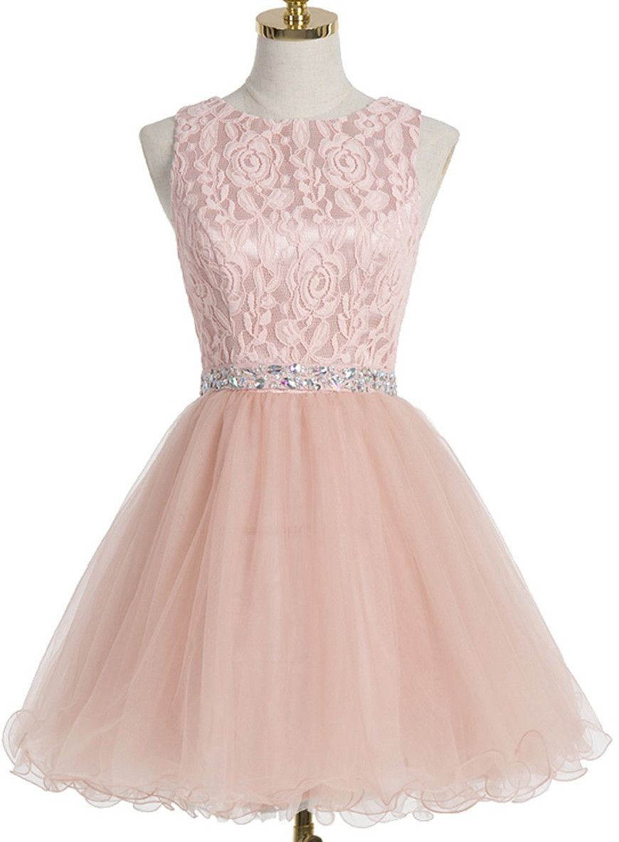 Homecoming Dress With Crystal Lace,A-line Scoop Homecoming Gown,Short Champagne…