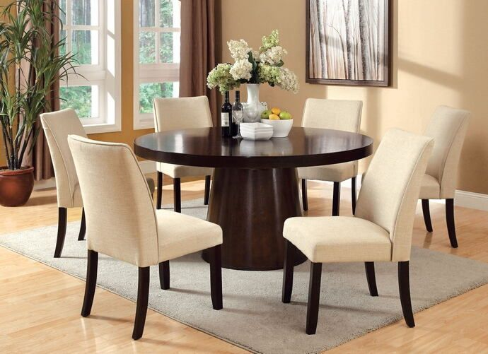 7 Pc Havana Collection Contemporary Style Espresso Finish Wood Round Dining Table Set This Features A And 6 Side Chairs Measur