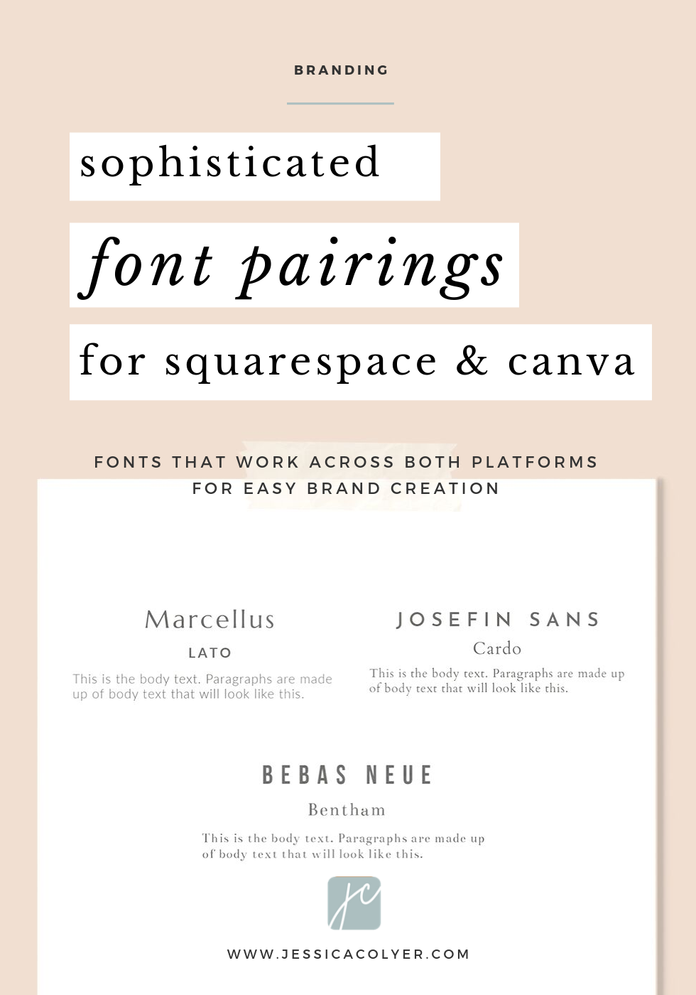 Sophisticated Font Pairings For Squarespace And Canva Here Are Three Favorite Font Combos Available On Both Squar Font Pairing Font Combos Free Cursive Fonts