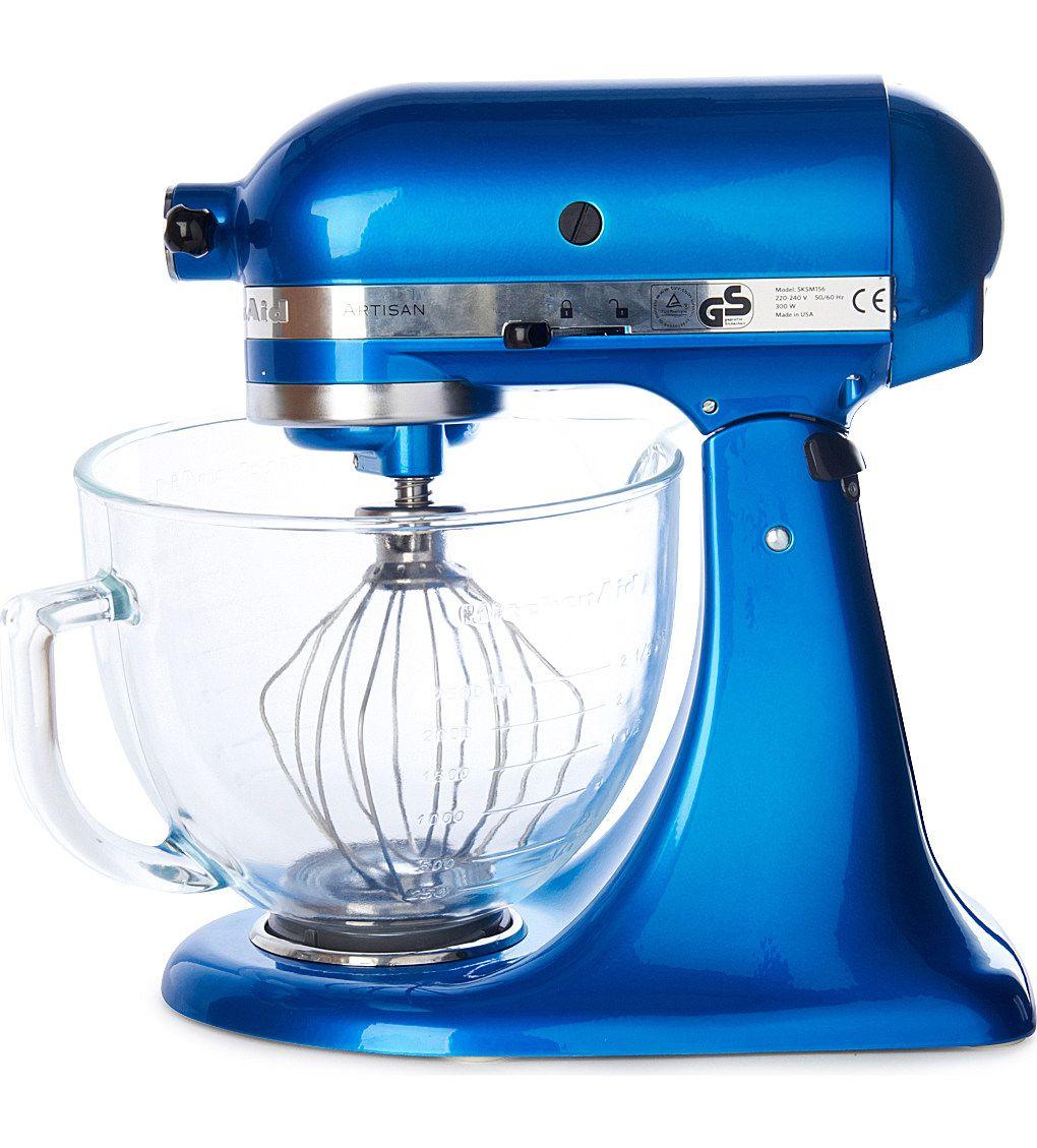 Kitchenaid artisan mixer electric blue glass bowl