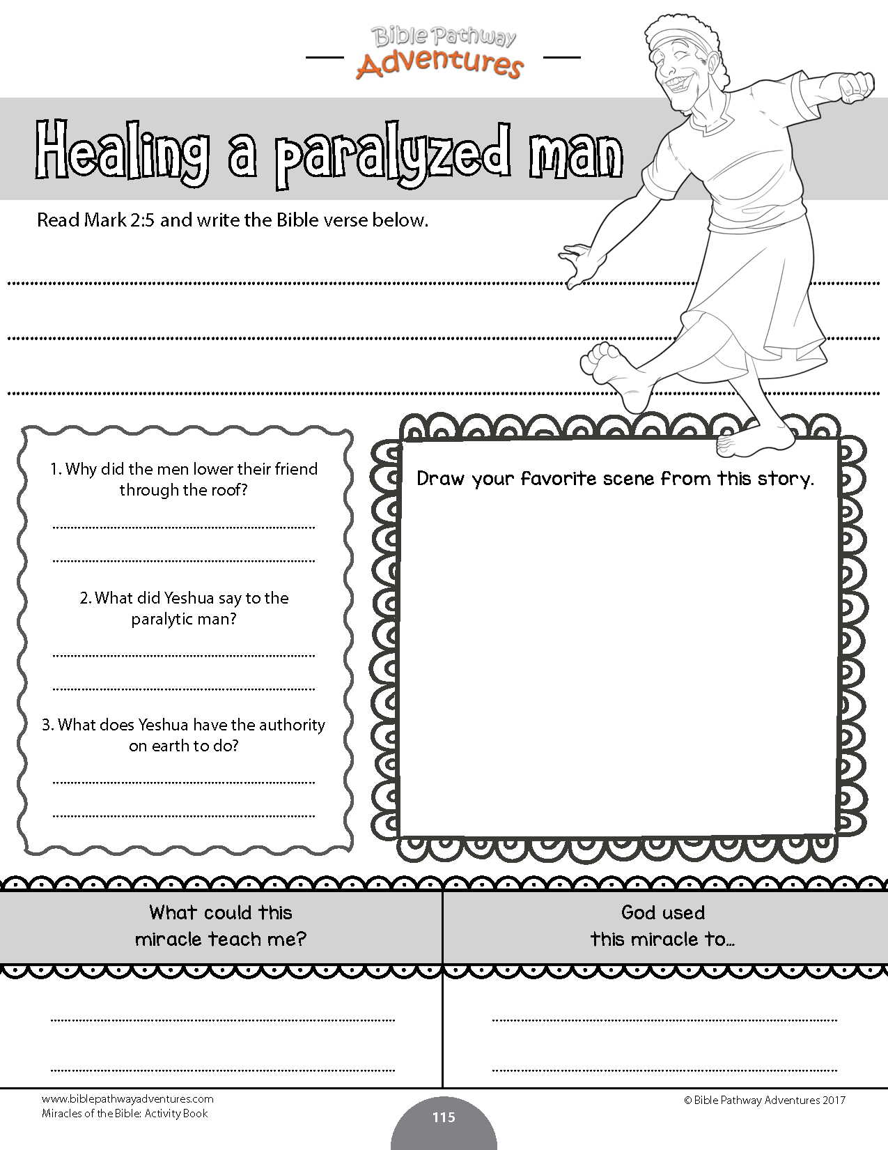 Healing A Paralyzed Man Worksheet For Kids