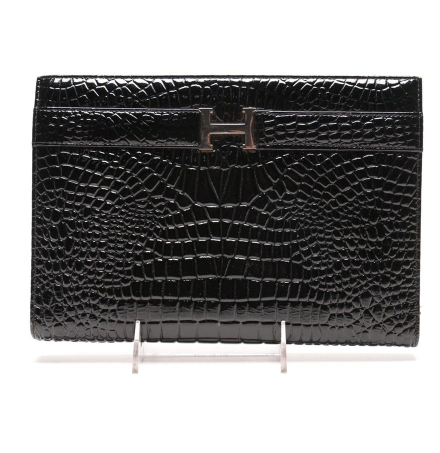 5a3e15d234ee black Hermes crocodile skin wallet Crocodile Skin, Purse Styles, Hermes,  Black Leather,