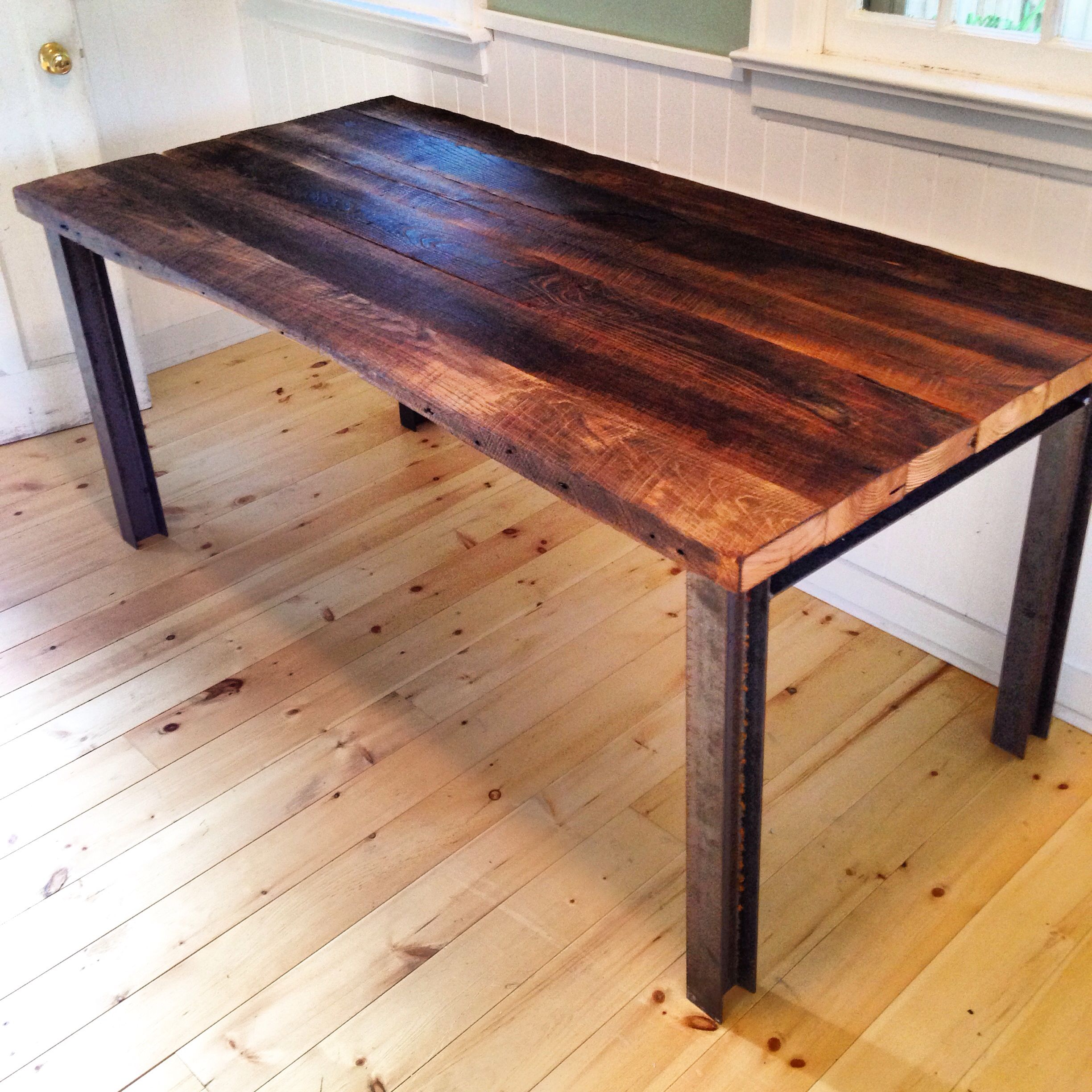 Superior Reclaimed Sassafras Table Top With I Beam Table Legs. Custom Built To Order  To