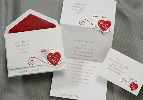 Red Black And Silver Wedding Invitations: Valentines Hearts, True Love, Wedding Invitations Great
