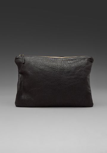 CLARE VIVIER Oversized Laptop Clutch in Black Pebble