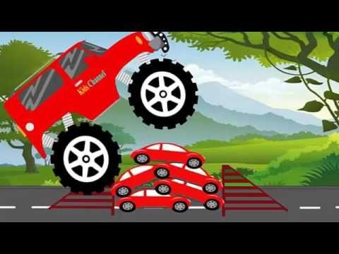 Red Truck Monster Trucks For Kids Kids Channel Red Truck Monster Trucks Kid Movies