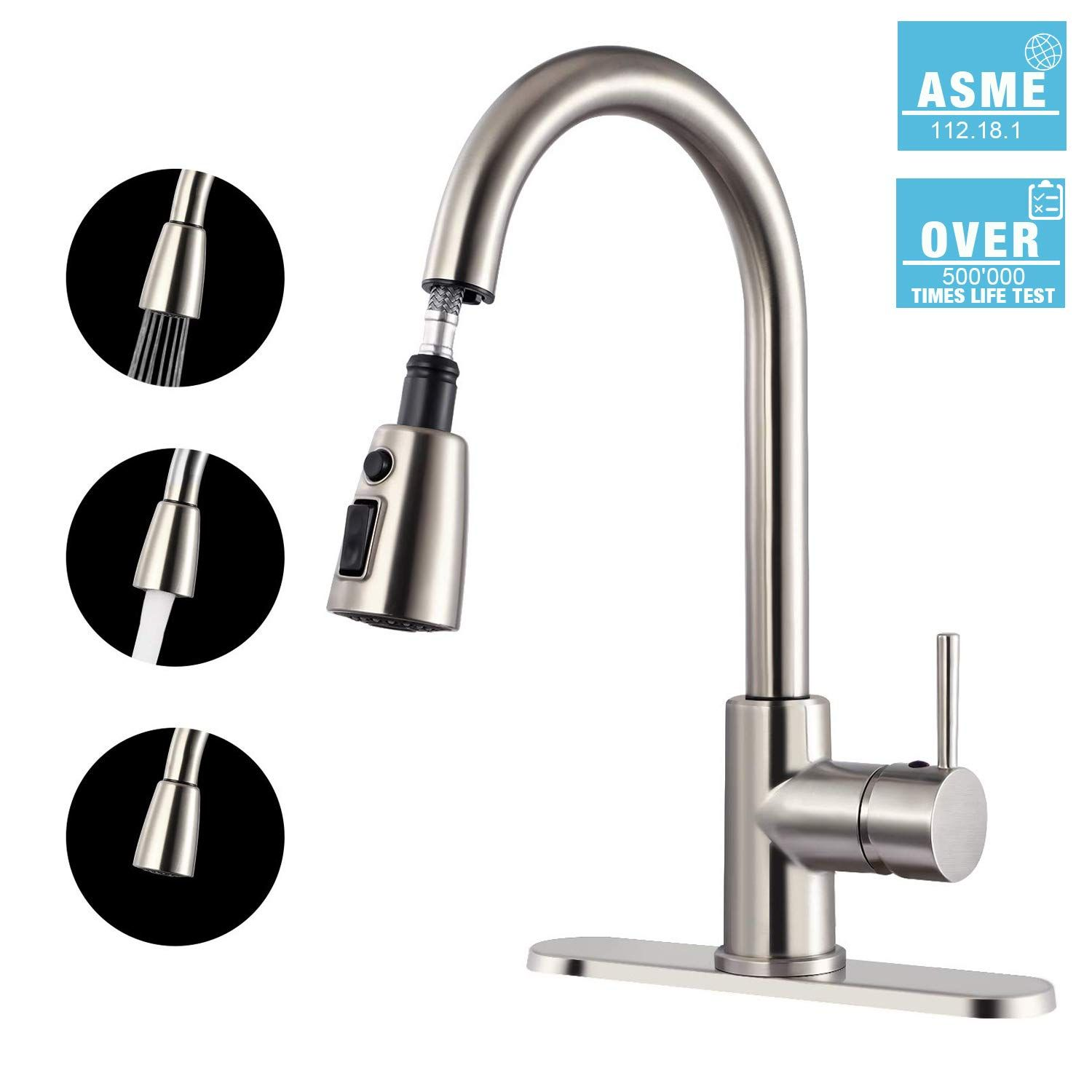 Kitchen Faucet Teccpo Single Handle High Arc Brushed Nickel