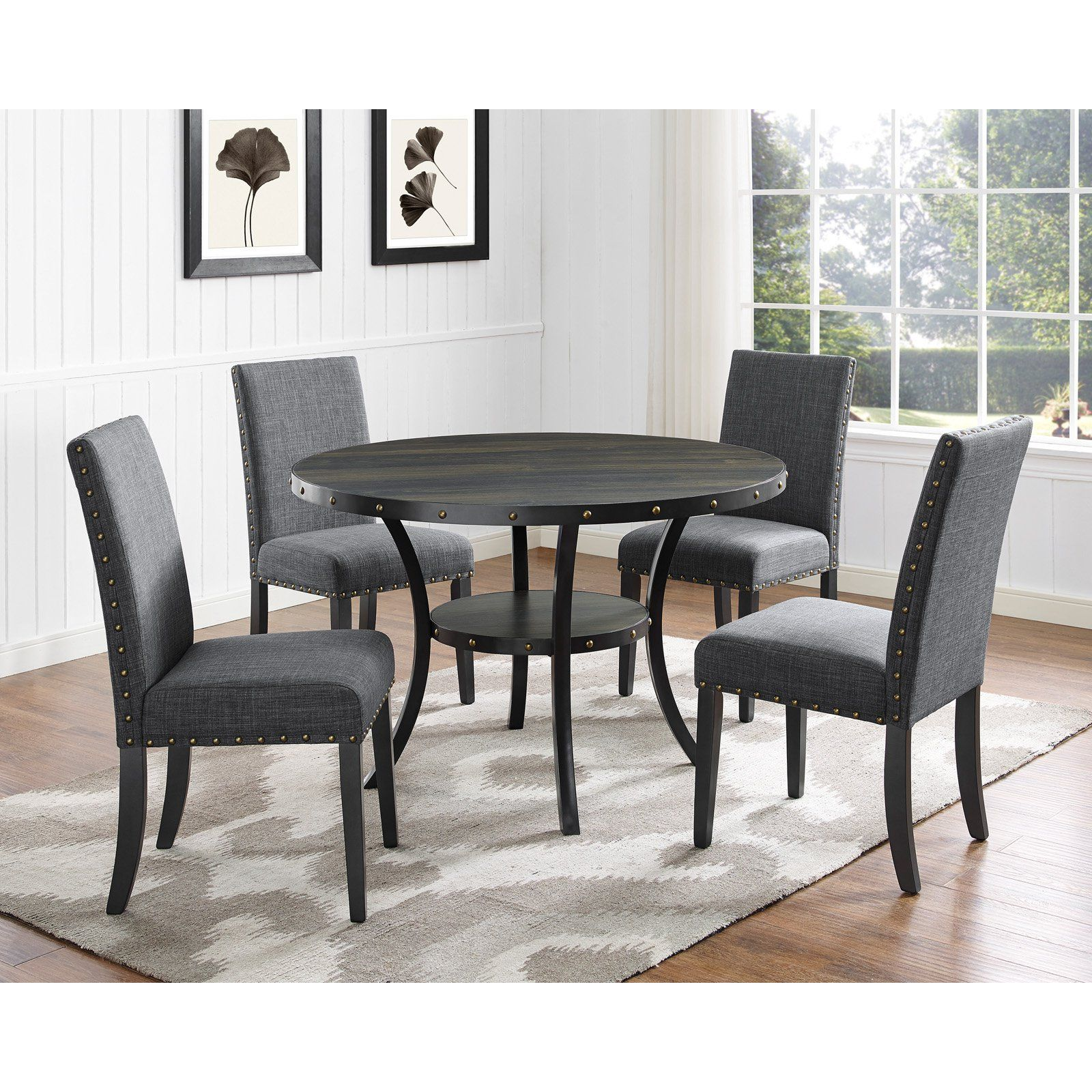 Roundhill Furniture Biony 5 Piece Wooden Dining Table Set Wooden