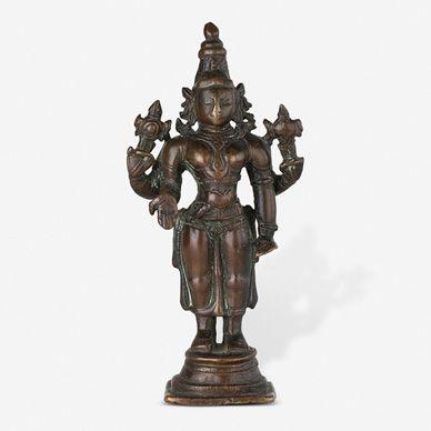 COPPER ALLOY FIGURE OF VISHNU, Southern India, 17th Century CE, Live Auction, Mumbai, December 17, 2014