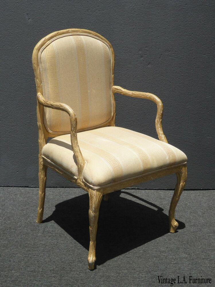 Vintage French Country Regency Off White Crackle Finish Accent