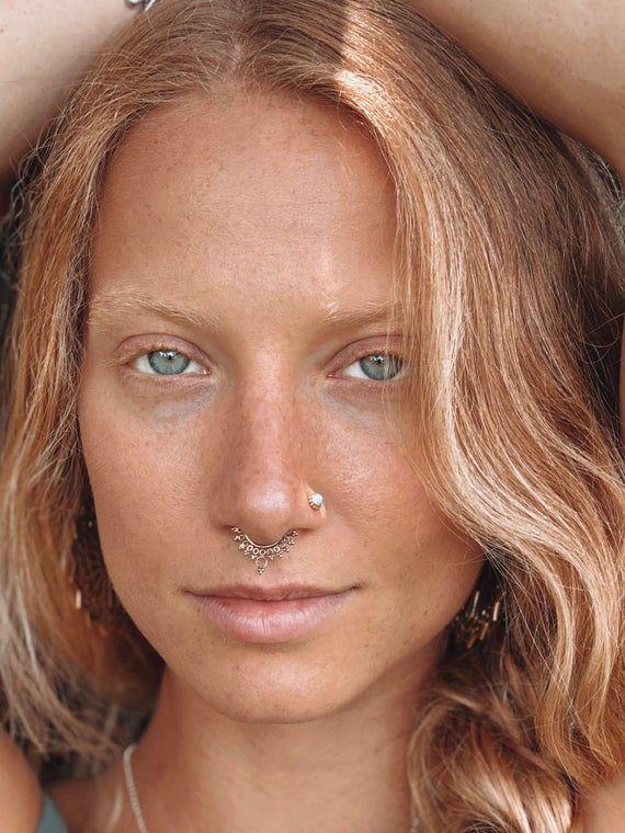Brass Septum Ring - Septum Jewelry - Septum #nosering #nosepiercing #indianseptumring #tribalseptum #tragusring #septumring #septumpiercing #septumjewelry #indiannosering #nosejewelry #18gseptum #16gseptum #brassseptum